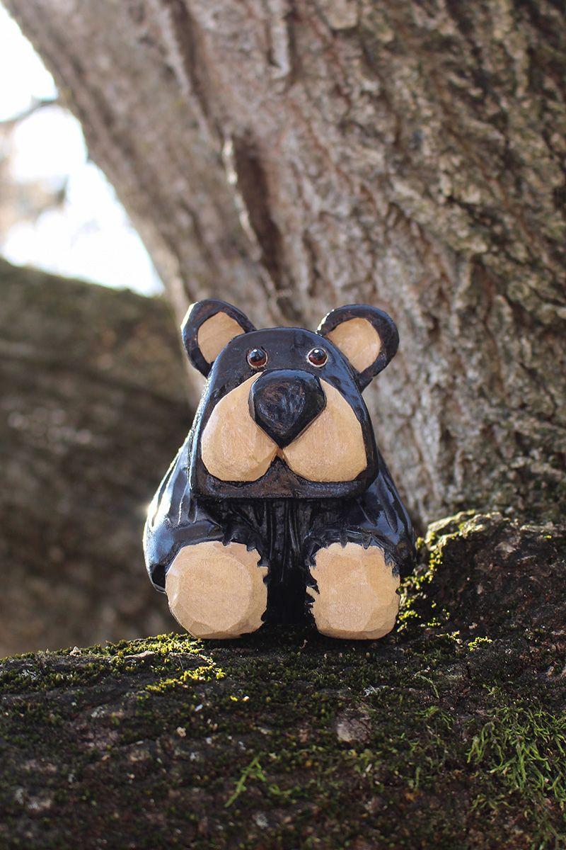 Simple black bear wood carving the woodcarverus cabin cute