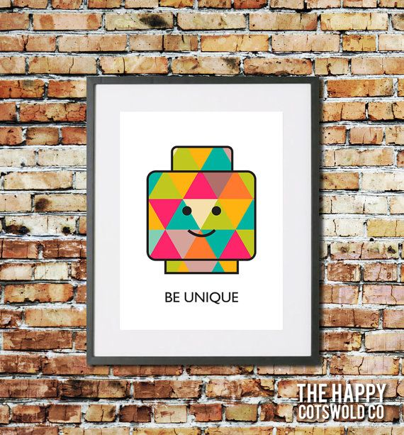 Nursery Wall Decor Print Lego Mini Figure Poster Inspirational Wall Art Be Unique Mini