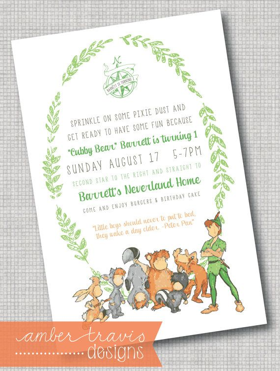 Peter Pan And The Lost Boys Invitation Never Growing Up Neverland Party First Birthday Invite