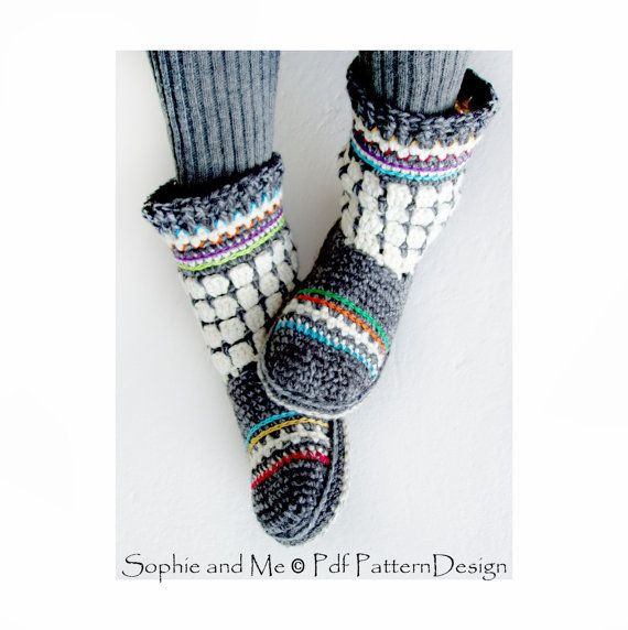 Fair Isle Slipper-Boots for Adults Crochet by PdfPatternDesign ...