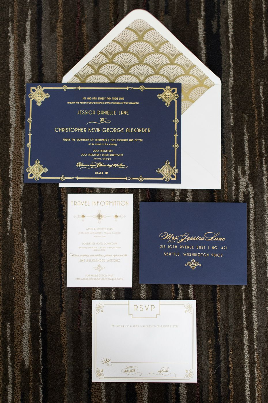 Navy and Gold Wedding Invitations by Paper Daisies Stationery Atlanta  Pretty Paper Products