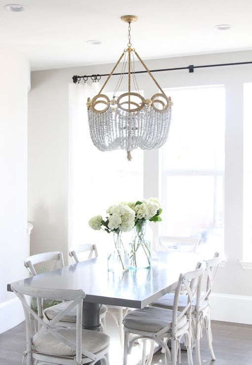 Fiona Beaded Chandelier | Transitional Dining Room | Owen And Davis