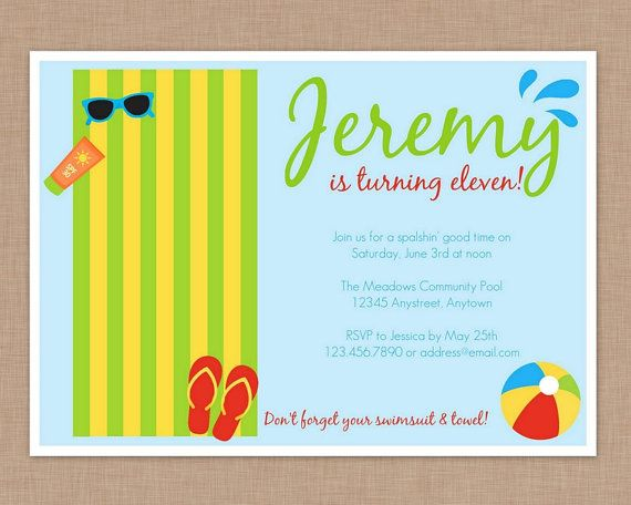 Pool Party Beach Party Birthday Invitation by thepaperblossomshop - birthday invitation pool party