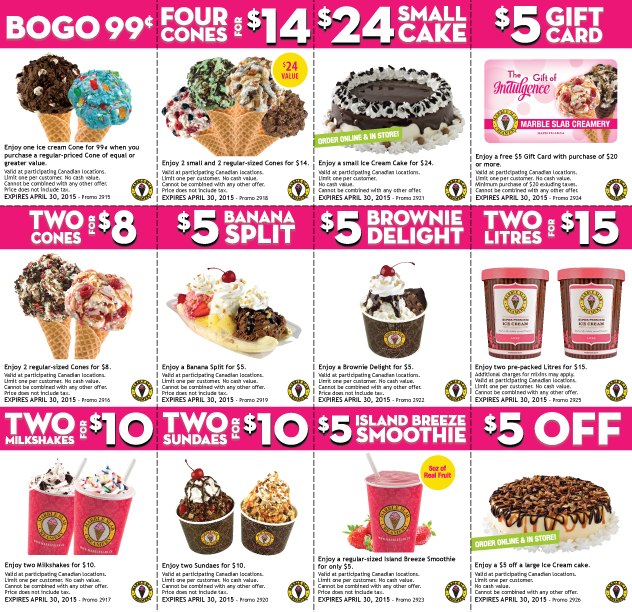 Coupon Design For Marble Slab Creamery Marble Slab Creamery Creamery Menu Design