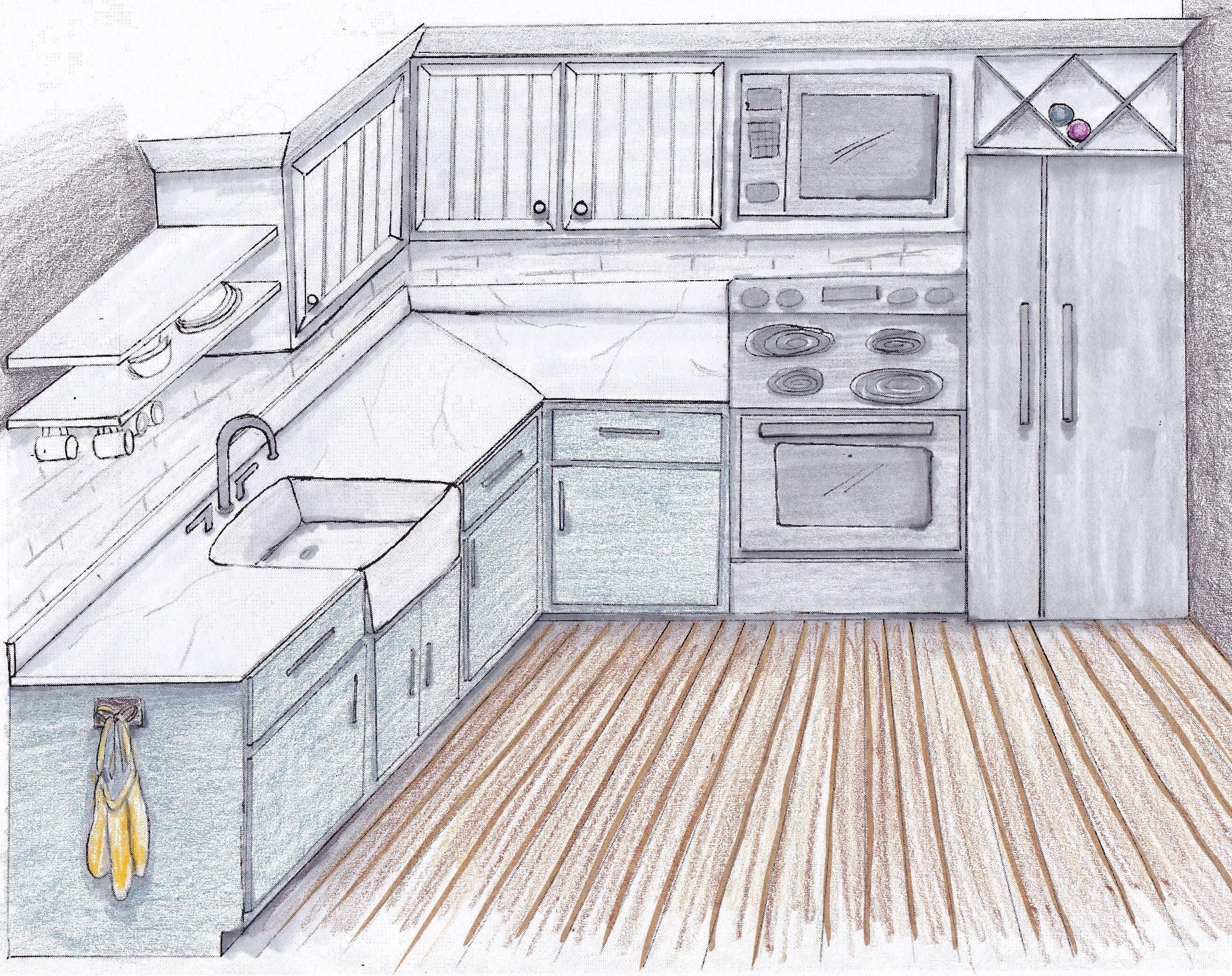 Easy Kitchen Drawing - Gallery | Kitchen drawing, Kitchen ...