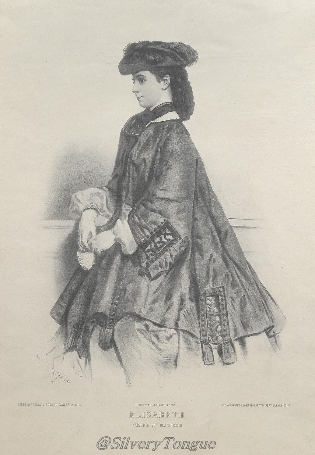 Porträt der jungen Kaiserin, Lithographie von Eduard Kaise.