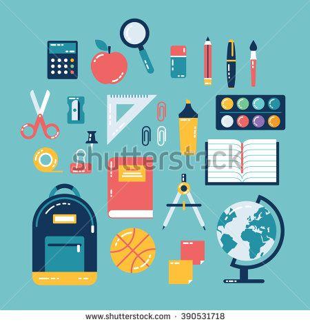 Flat design of school supplies. Calculator, apple