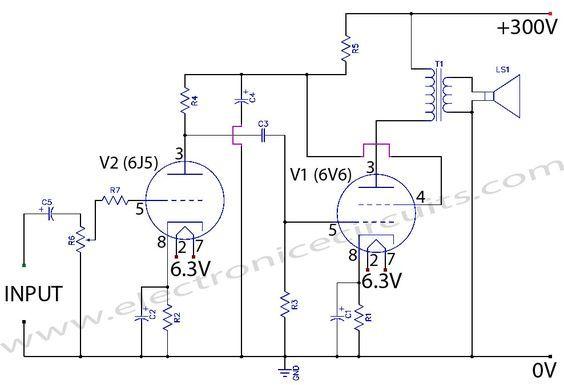 6V6 6J5 Class A Valve (Vacuum Tube) Amplifier Circuit