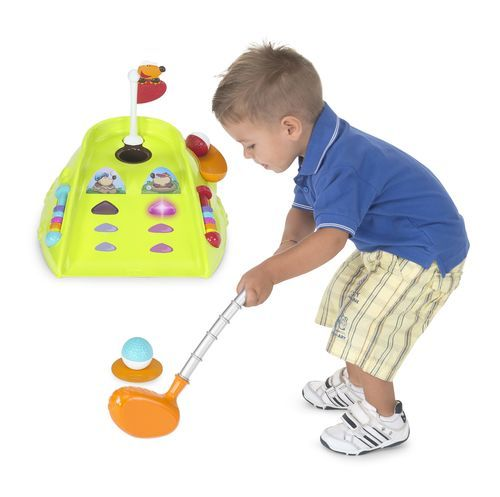 Your little one can be just like Daddy with Chicco's Fit & Fun Mini Golf Set. This fun toy has multiple game modes and helps your toddler develop motor skills and coordination.