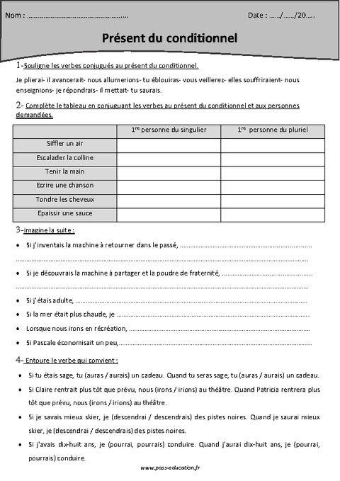 Conditionnel présent - Cm2 - Exercices corrigés - Pass ...