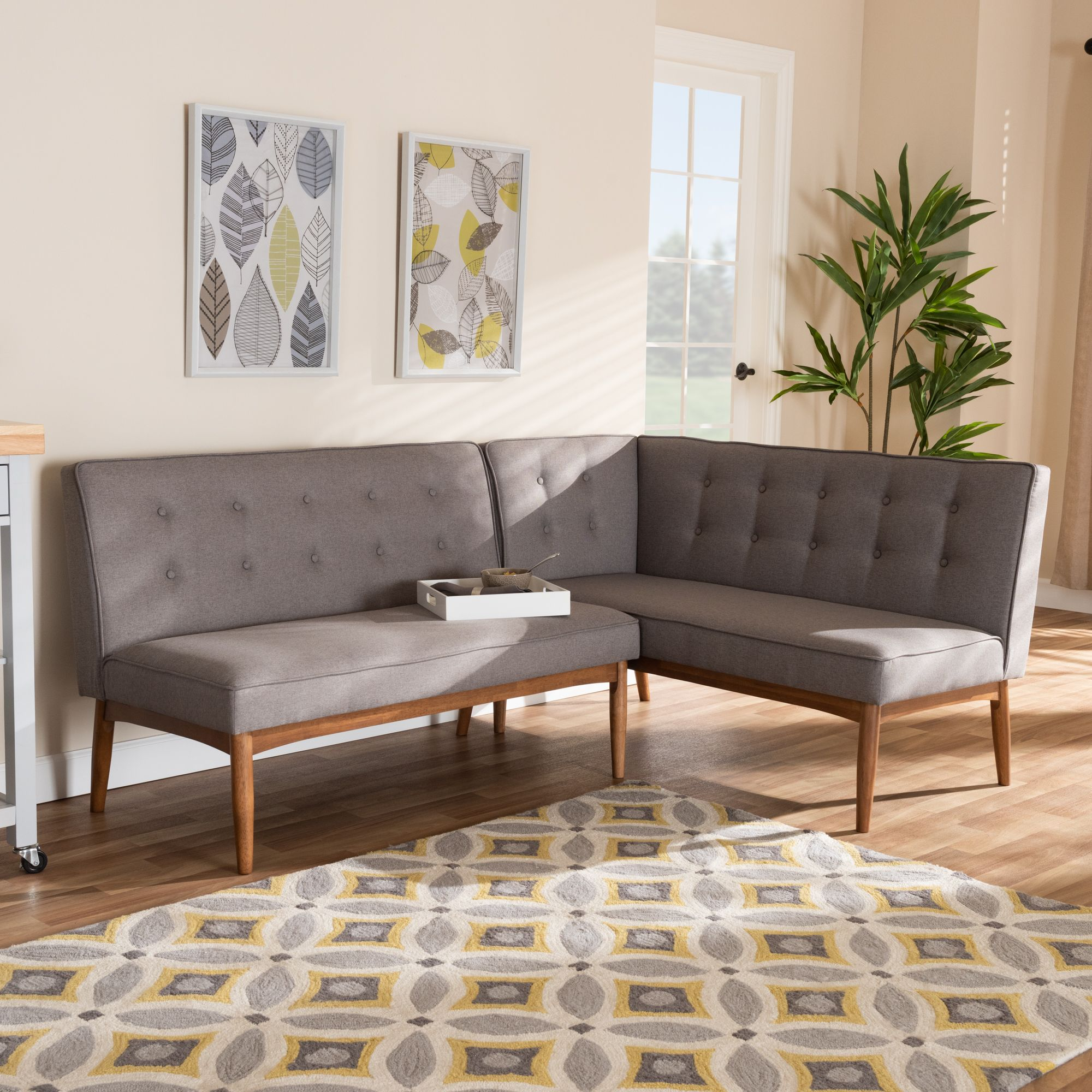 Baxton Studio Arvid Mid Century Modern Gray Fabric Upholstered 2 Piece Wood Dining Corner Sofa Bench Walmart Com Dining Sofa Nook Dining Set Dining Corner