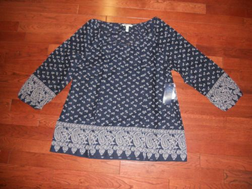 Women's Bass Heritage Navy Blue Blouse Size Medium | eBay