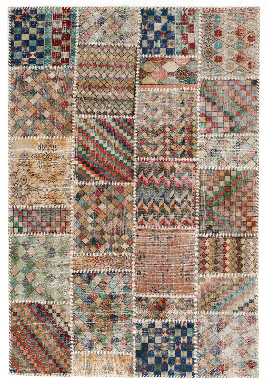 Varicolored Geometric Pattern Patchwork Rug Small Size Multicolor