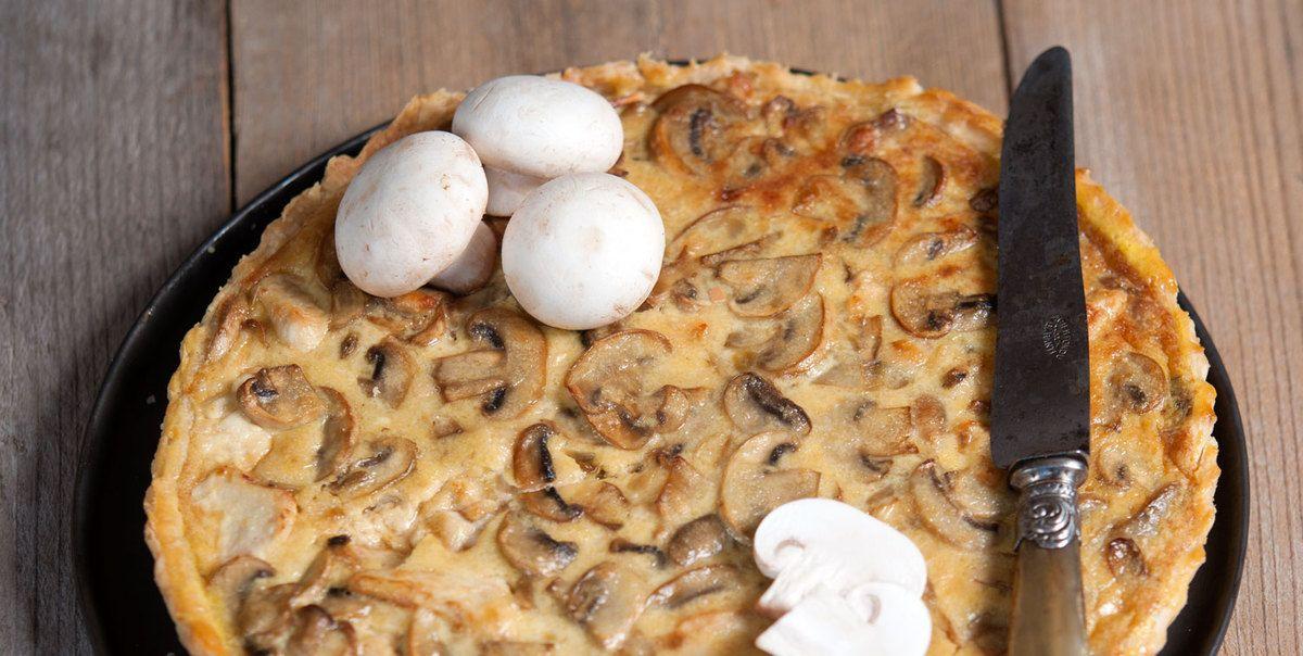 Quiche foresti re au poulet champignons et parmesan - Recette de cuisine quiche au poulet ...