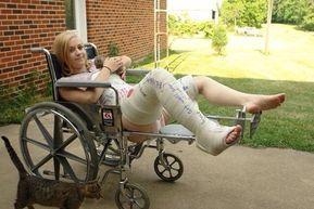 Mädchen in Becken-Bein-Gips & Rollstuhl   Gipsbein, Beine