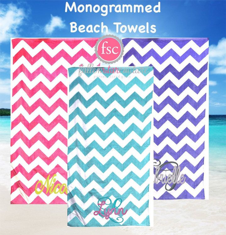 etsy monogrammed chevron beach towels personalized beach towels