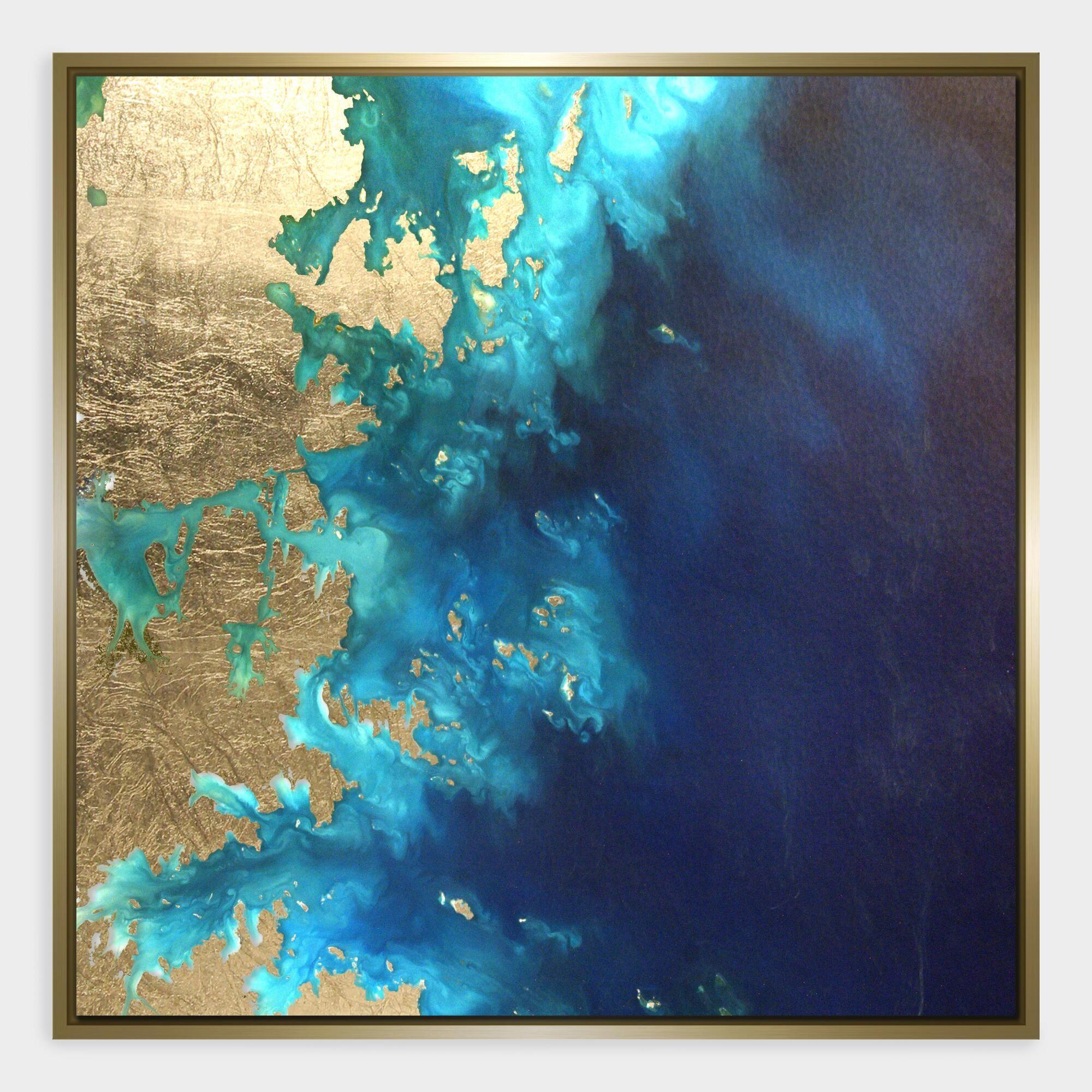 4f03d1967db2 Gold Leaf Land And Sea Print Framed Wall Art  Blue - Medium by World Market
