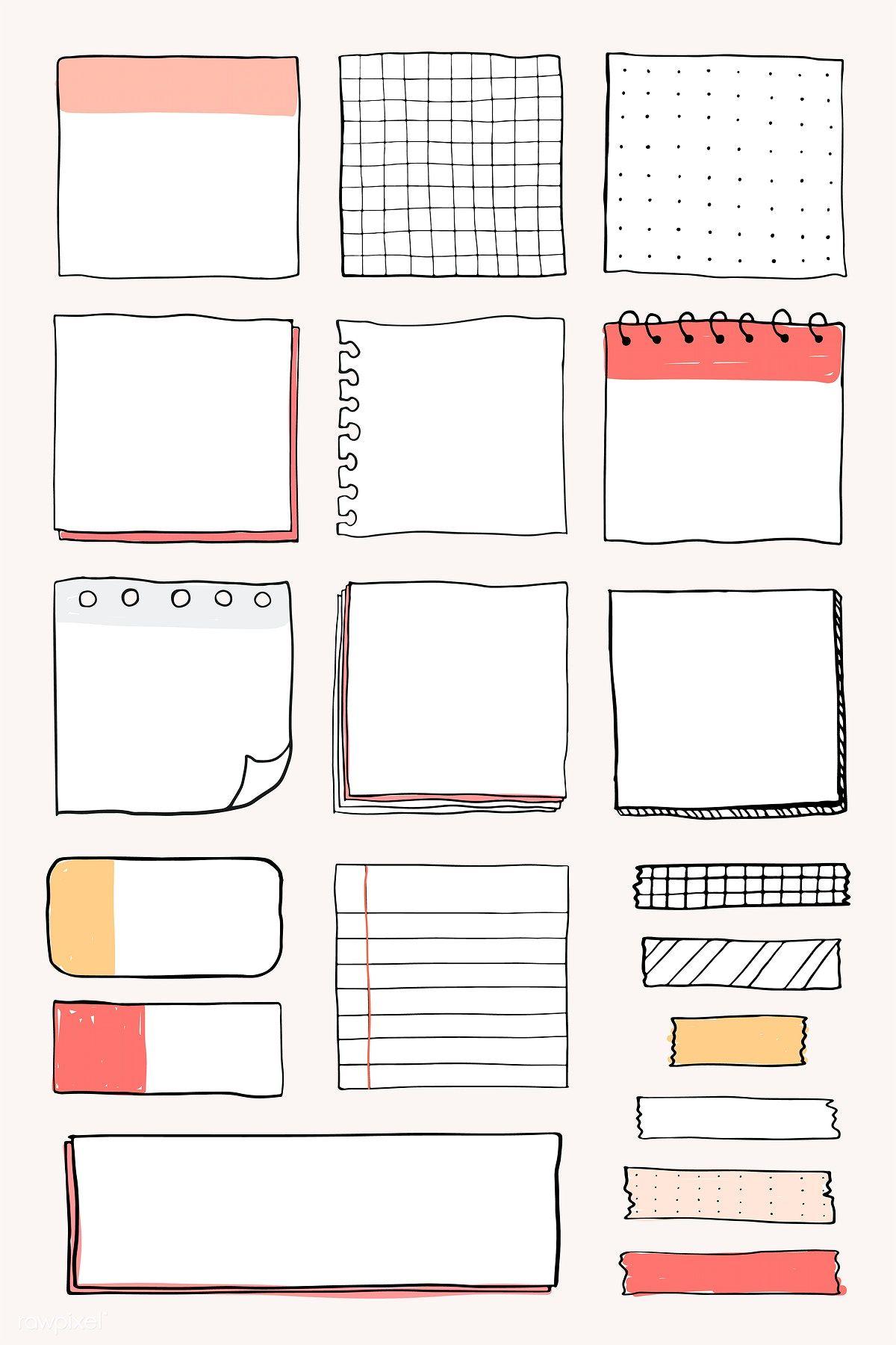 Download premium vector of Blank reminder paper notes vector set 2100874