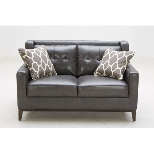 Wondrous Contemporary Charcoal Leather Loveseat Nigel House Pabps2019 Chair Design Images Pabps2019Com