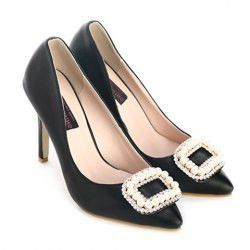 Elegant Women's Pumps With Faux Pearls and Rhinestones Design