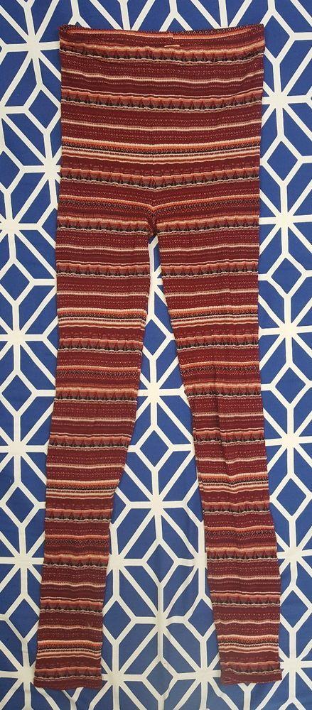 Free People Red Burgundy Sweater Knit Fair Isle Leggings Size M ...