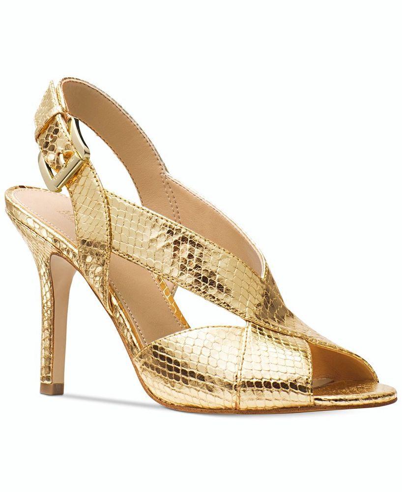 bca66e7f6acb4 Michael Kors Becky Dress Metallic Sandals Light Gold Size 7.5 NIB Snake  Embossed  MichaelKors  Slingbacks