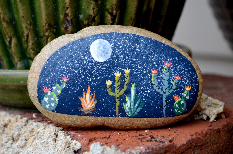Photo of Items similar to Painted Rock Desert, Large Cactus Rock, Cactus Garden, Hand Painted Rock, Southwestern Decor, Porch Art, Boho Decor, hisOpal Rocks on Etsy