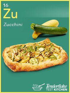 Summer's here, and with it, summer squash like yellow and green #zucchini. With zesty lemon and creamy #goatcheese, it makes for a tasty snack to serve al fresco. #galette #puffpastry #tenderflake