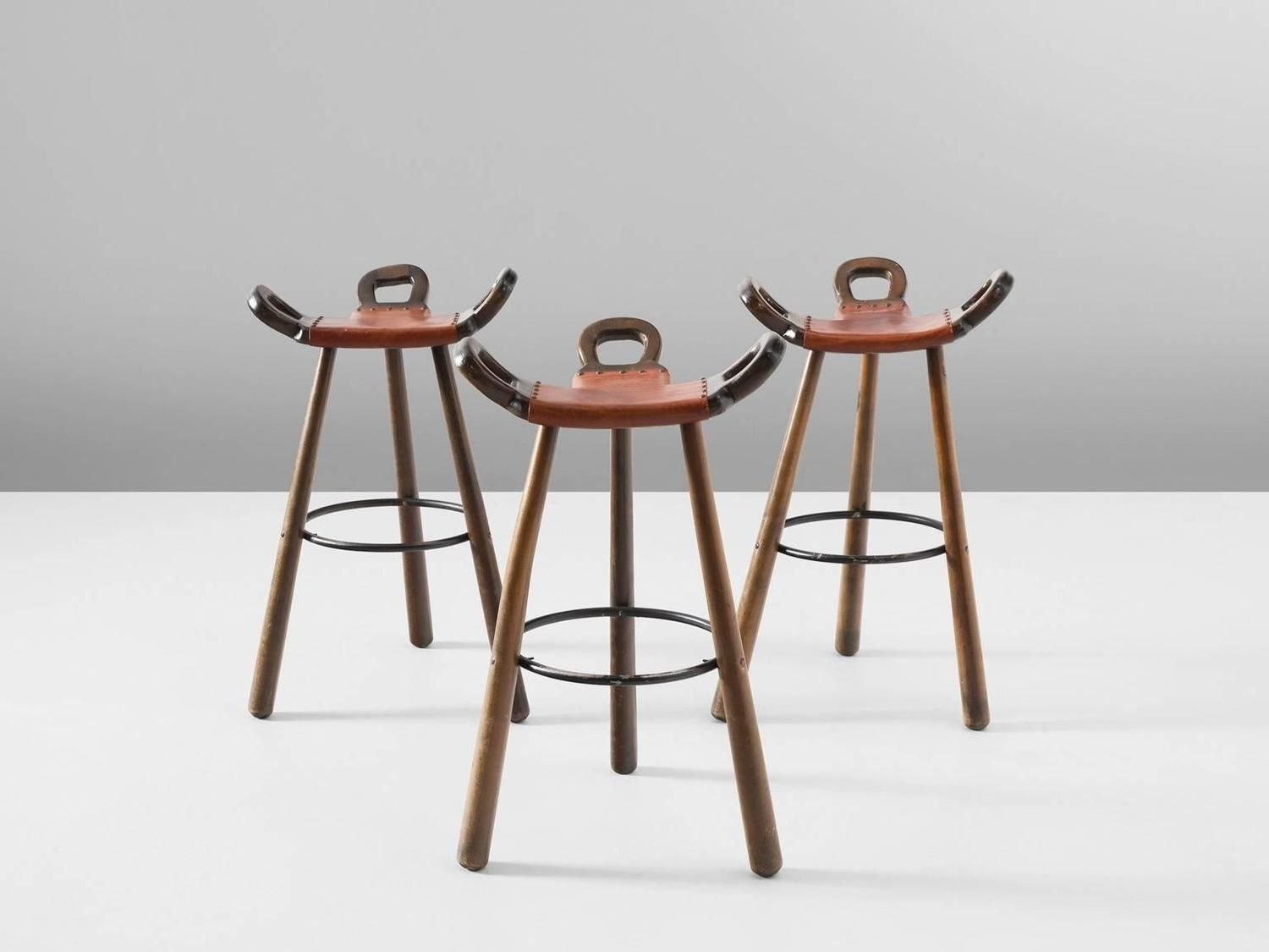 Set of Three 'Marbella' Brutalist Bar Stools with Leather Seating For Sale at 1stdibs