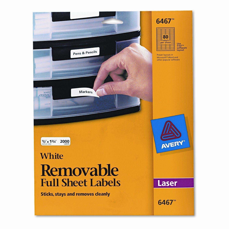 Removable Inkjet/Laser I.D. Labels, 2000/Pack