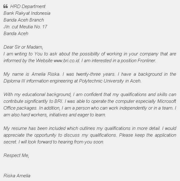 Contoh Surat Lamaran Kerja Dalam Bahasa Inggris Untuk Sekretaris Dan