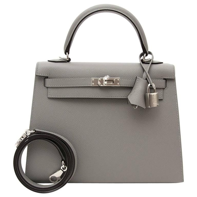 56786a40c8f97 Brand New Hermes Kelly 25 Gris Mouette Epsom