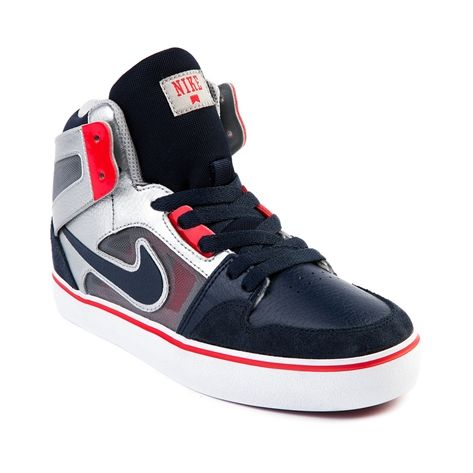 Tween Nike Ruckus Hi Athletic Shoe, Navy Silver Red   Journeys Kidz