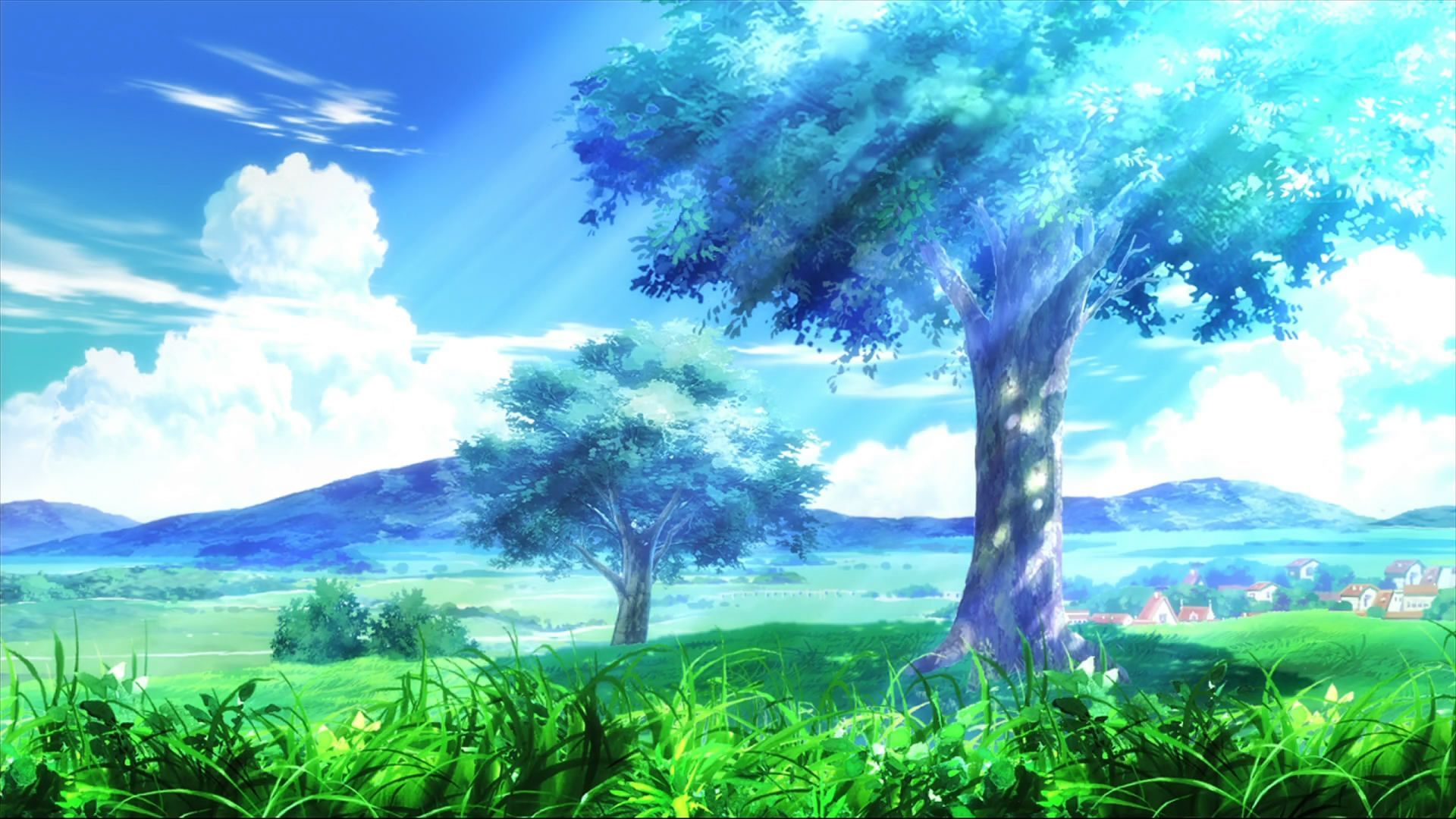 Ef History Of Ring Tones Tree Clouds Grass Light Nature Anime Backgrounds Wallpapers Anime Scenery Wallpaper Landscape Wallpaper