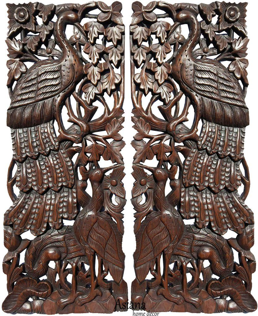 Tropical home decor carved wood wall panels home decor wall art