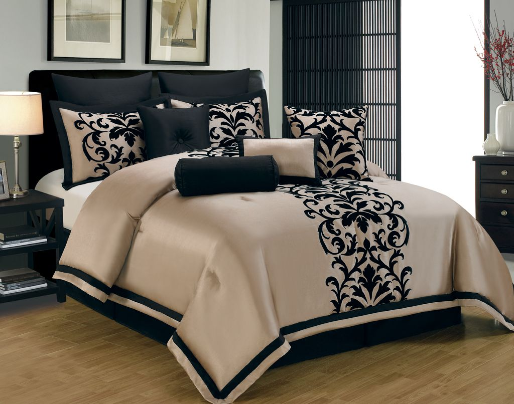 Elegant Master Bedroom Ideas with Black Beige Floral Print