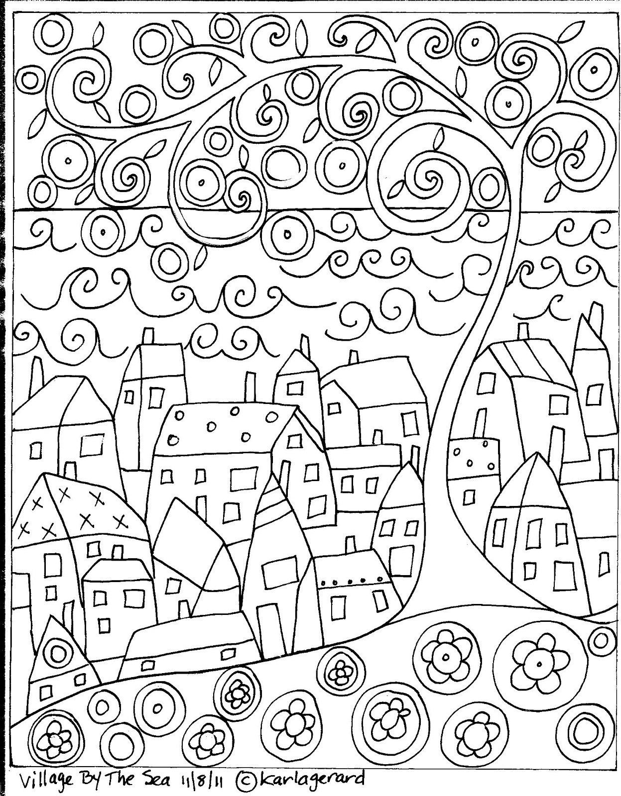 RUG HOOK PAPER PATTERN Village By The Sea ABSTRACT FOLK ART ...