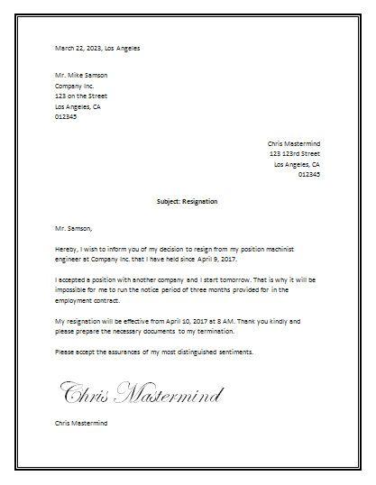 Sample Resignation Letter Template Word  tata