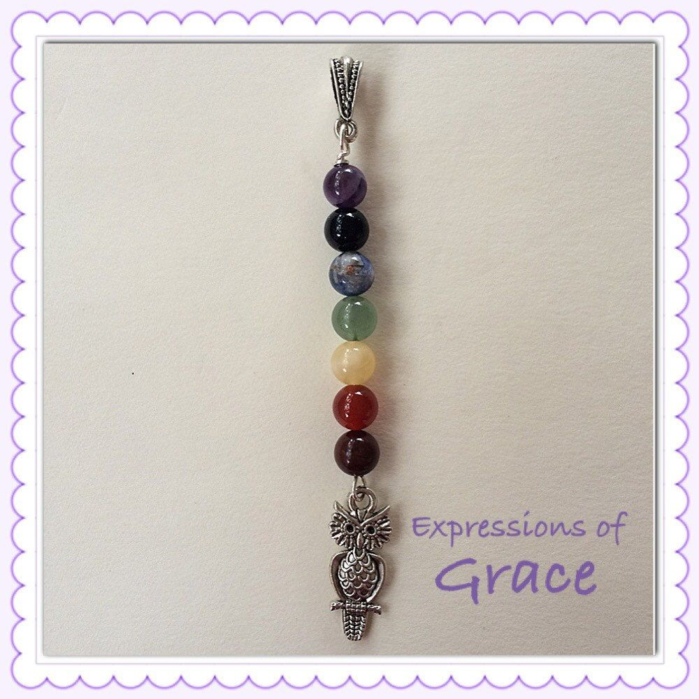 7 chakra balancing pendant with owl charm by expressions of grace 7 chakra balancing pendant with owl charm by expressions of grace therapeutic healing crystals for mozeypictures Image collections