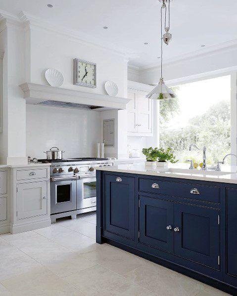 Beige Tile Kitchen Flooring Ideas White Cabinets Navy ...