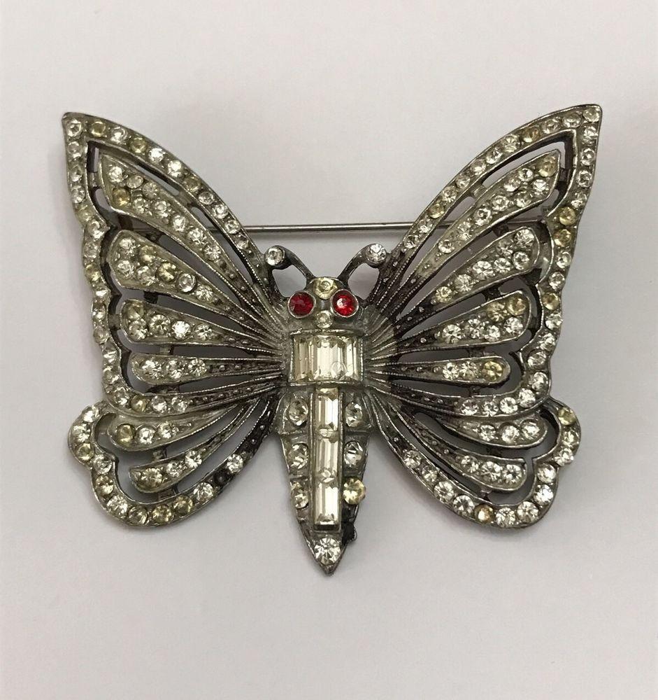 Vintage Art Deco Rhinestone Butterfly Pin Brooch Pot Metal Unsigned