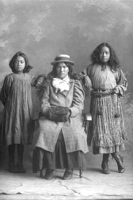 Old Maori Women: Full Portrait Of Three Maori, Young Woman.Creator Schmidt
