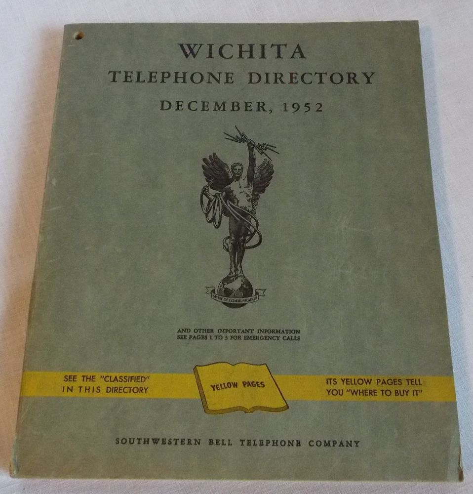December 1952 Wichita Telephone DIrectory Southwestern Bell
