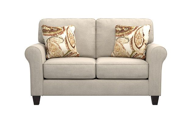 Best Aldy Loveseat And Pillows By Ashley Homestore Tan 640 x 480