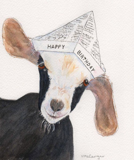 Birthday Goat Card. Watercolor print card with envelope. StellaJaneCards Inside Card: Your Birthday is Headline News! Happy Birthday.