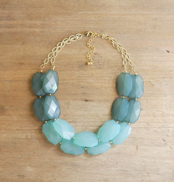 Ombre Turquoise Blue Double Strand Statement by ShopNestled