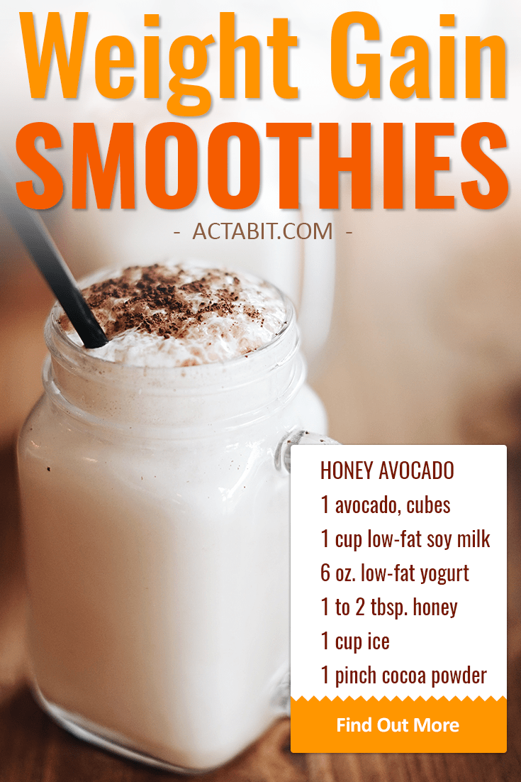 Make high-calorie but healthy weight gain smoothies with avocado, soy milk, and yogurt. Great smoothie recipes for breakfast or meal replacement.