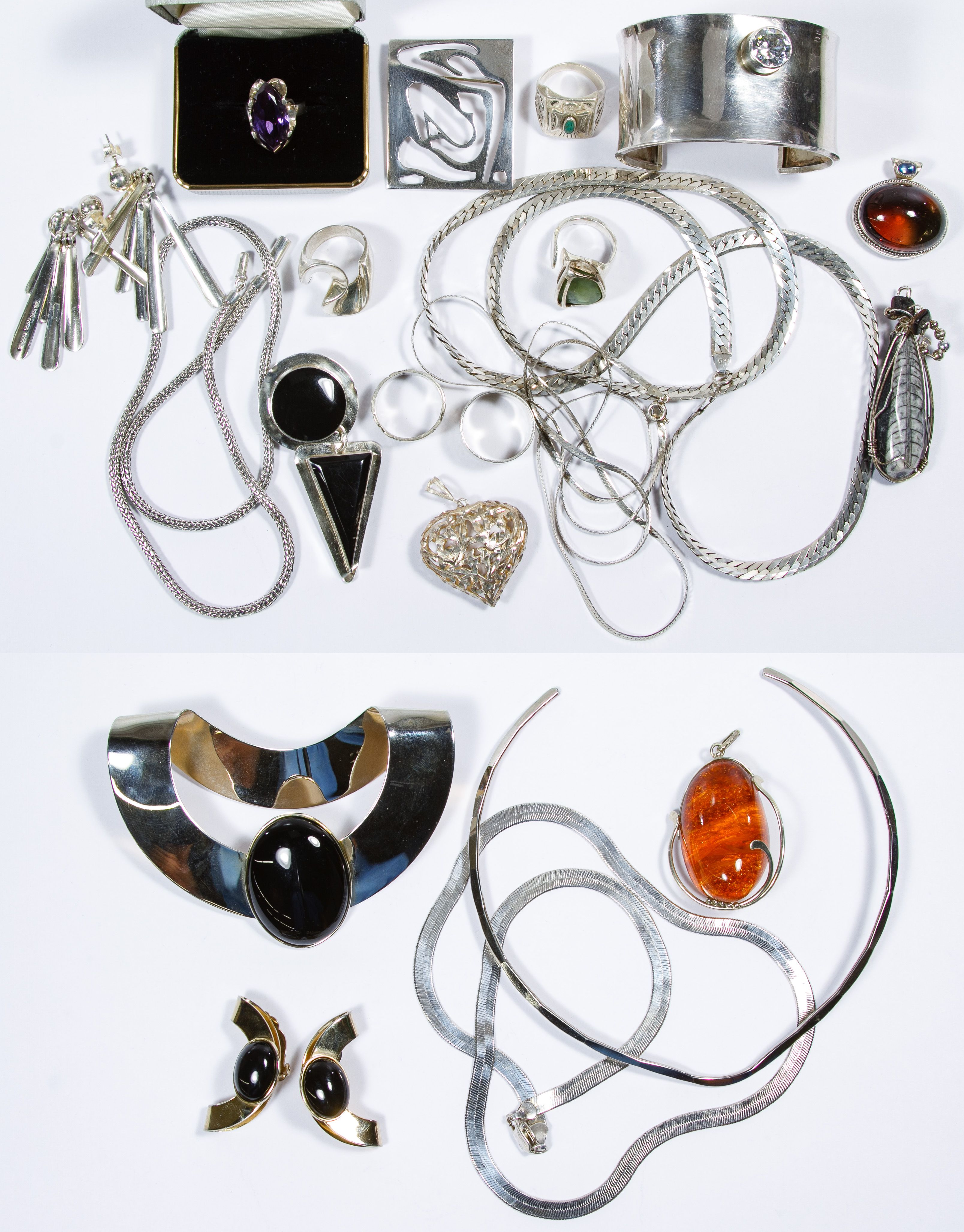 6a6a82528 Lot 639: Sterling Silver Jewelry Assortment; Including necklaces, pendants,  rings and earrings, most marked 925 or sterling; together with silver-tone  ...