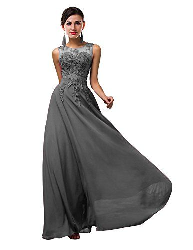 3065be94869 ThaliaDress Long Sheer Neck Evening Bridesmaid Dresses Prom Gown T004LF Gray  US14    Be sure to check out this awesome product.