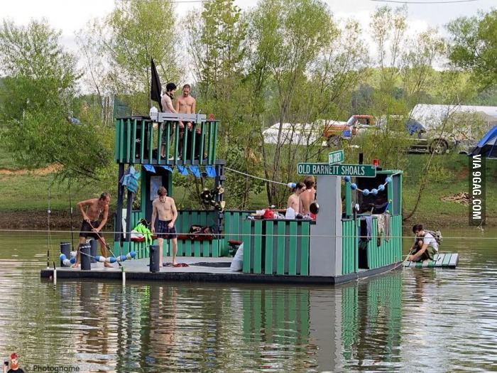 100 Repurposed Lumber To Create A Party Barge Floating Solely On